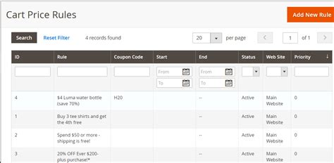 ruling section set magento cart price rules coupon discount studyopedia