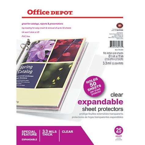 Office Depot Coupons Entire Purchase Office Depot Brand Expandable Sheet Protectors Pack Of 25