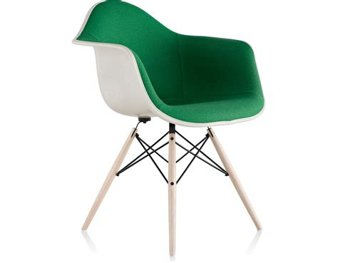 eames molded armchair eames 174 upholstered armchair with dowel base hivemodern com