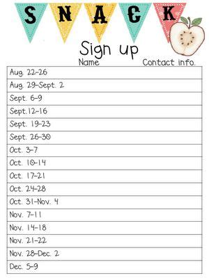 snack sign up template signs and classroom on