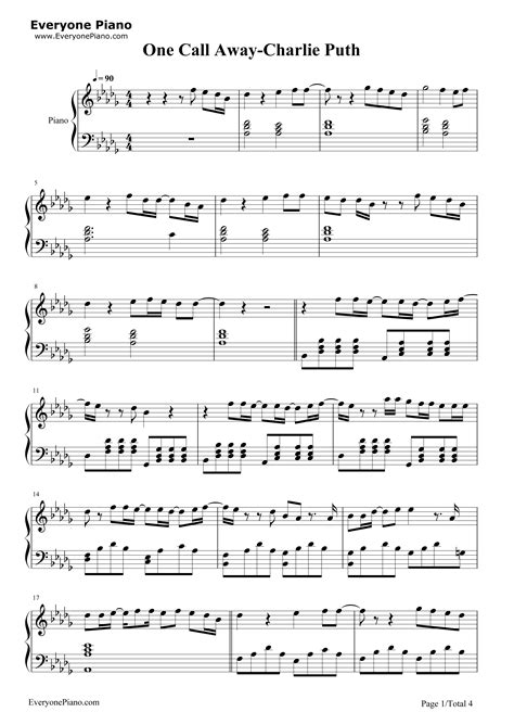 Charlie Puth One Call Away Sheet Music Chords Piano Notes | one call away charlie puth stave preview 1 free piano