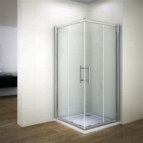 Shower Cubicle Door Shower Enclosure Corner Entry Cubicle Glass Sliding Screen Door Tray Waste Ebay