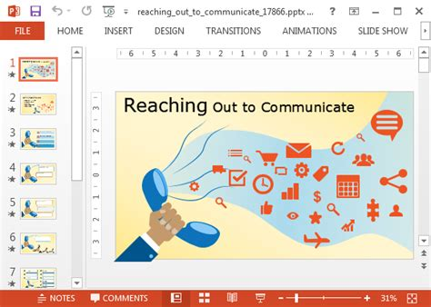 widescreen communication powerpoint template with animations