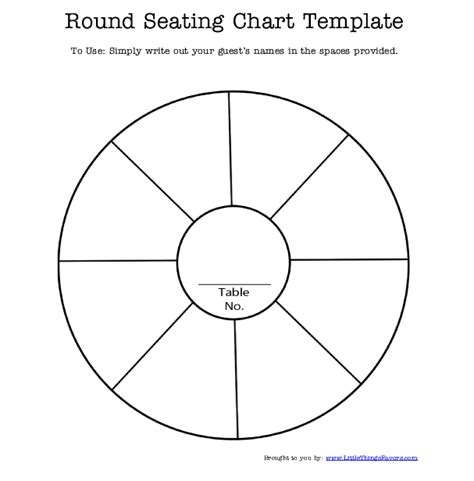 Free Printable Round Seating Chart Template For Wedding Table Chart Template