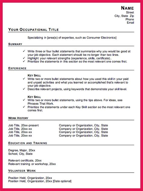 Combination Resume Template by Combination Resume Template Sop Exles