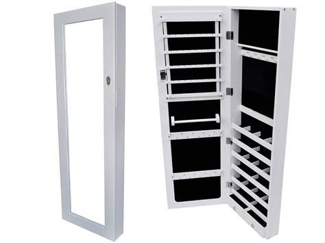 White Wall Mount Mirrored Jewelry Cabinet Armoire