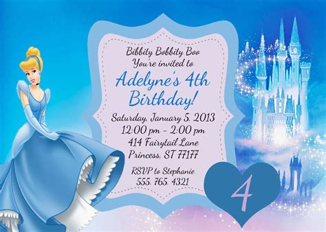 cinderella birthday invitation card template create easy cinderella birthday invitations printable