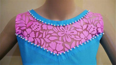 boat neck with leaf design latest boat neck design with net for kurthi simple craft