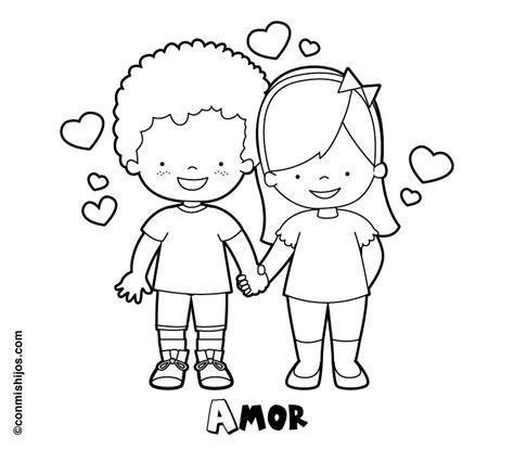 imagenes de valor amor para colorear dibujo de ni 241 os enamorados para pintar en san valent 237 n