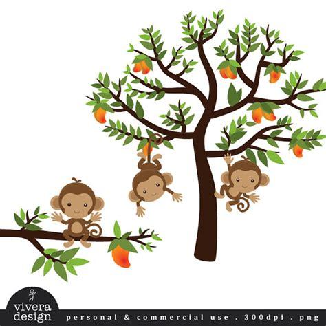 Tree Wall Sticker Nursery monkeys on a mango tree digital clip art