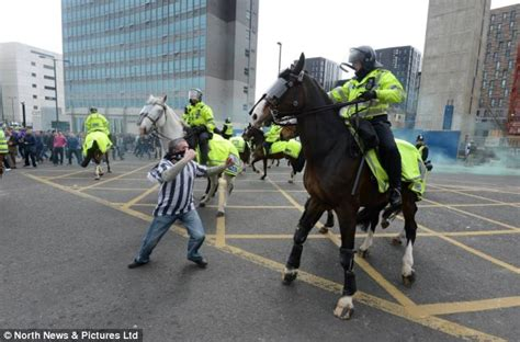 west yorkshire police mounted section 29 football fans arrested after hooligans run wild at