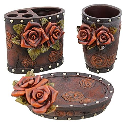 red rose bathroom accessories red rose tooled leather look 3 pc bathroom bath set
