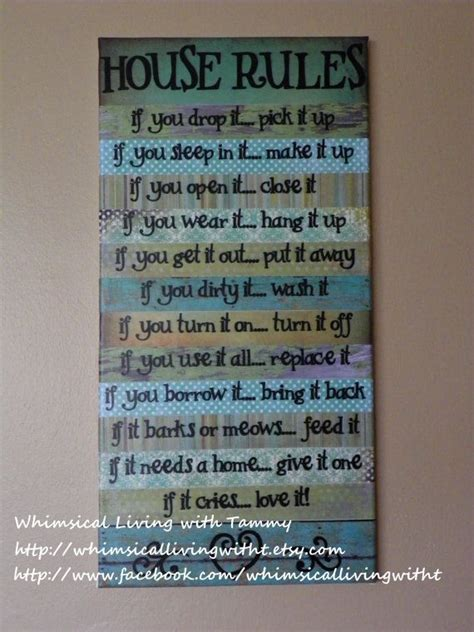 home decor rules 12x24 whimsical house rules sign teal green wall hanging