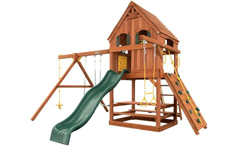 swing option parrot island fort w wood roof treehouse panels green