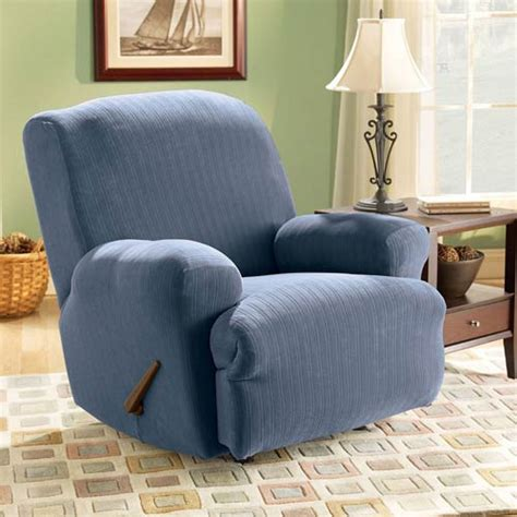 blue recliner slipcover french blue stretch pinstripe recliner slipcover sure fit