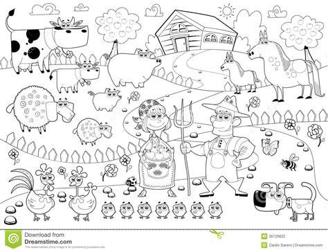imagenes en blanco y negro de la familia familia de la granja divertida en blanco y negro
