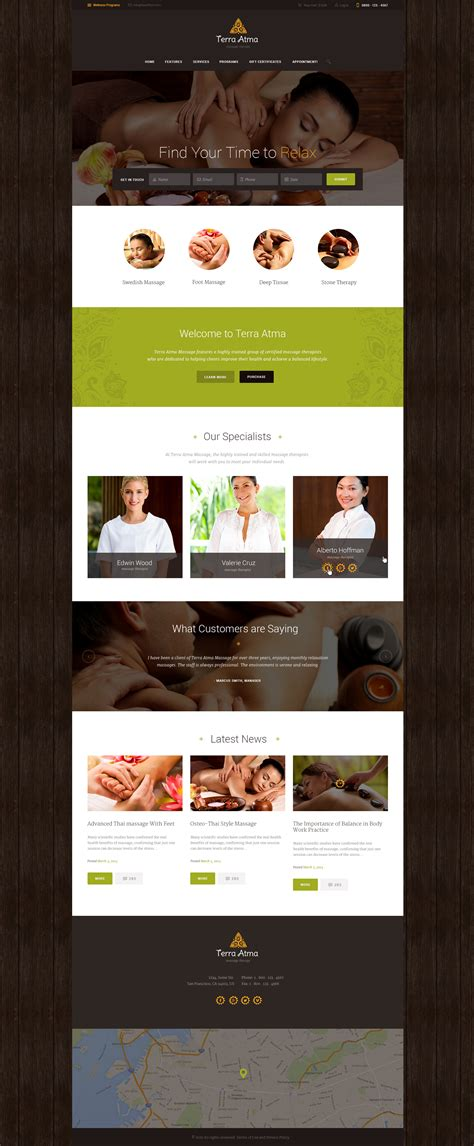 wordpress themes free massage terra atma spa massage salon wordpress theme by