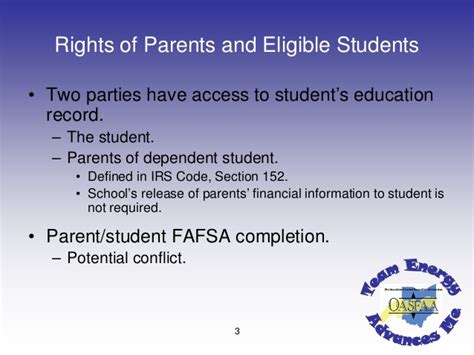 irs code section 152 oasfaa 2008 conference ferpa