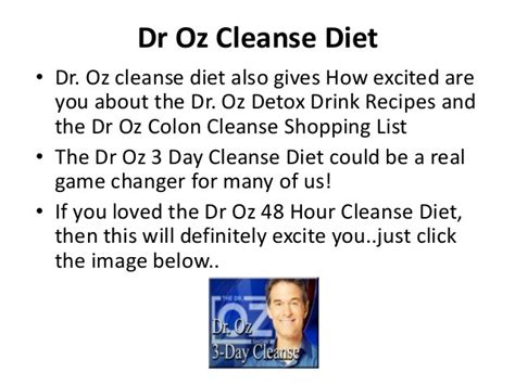 Dr Oz 3 Day Detox Diet Shopping List by Amazing Detox Drink That Sheds Pounds Instantly Tipit