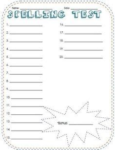 free printable lined paper for spelling test free spelling test templates for 10 15 20 30 word lists