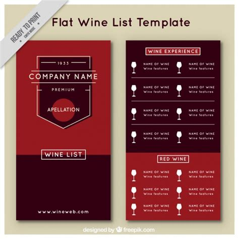 free wine menu template wine list template in flat style vector free