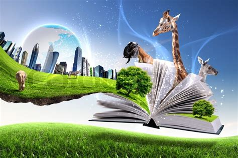 libro spanish nature of photographs open book with green nature world coming out of its pages stock photo colourbox