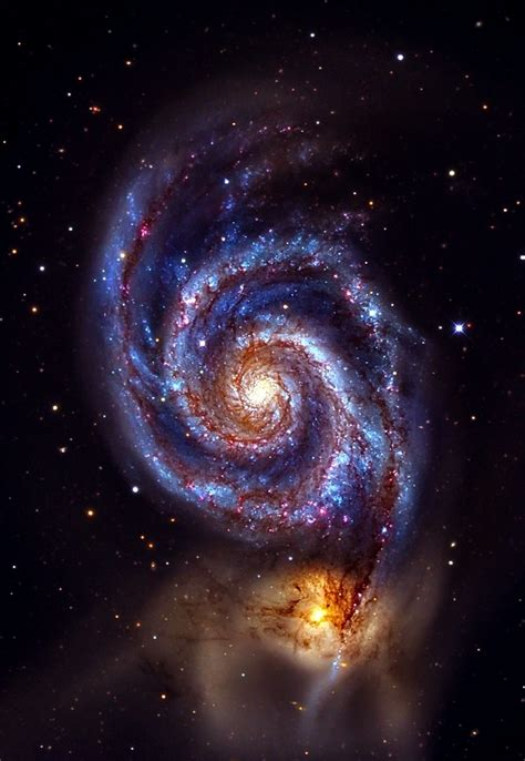whirlpool galaxy the whirlpool galaxy interacting with ngc 5195