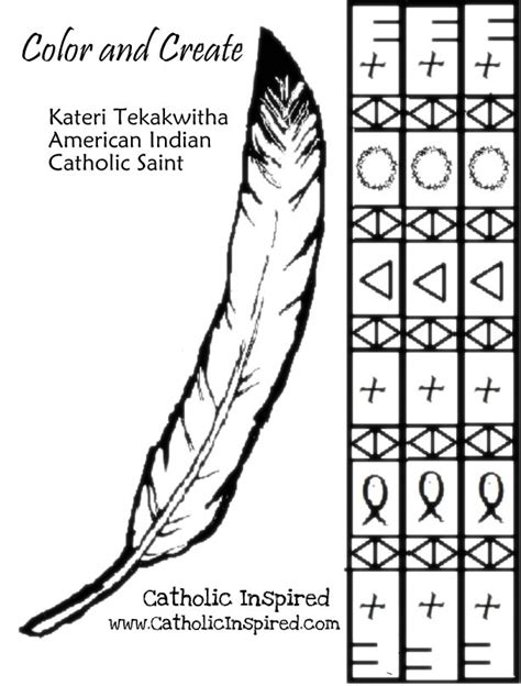 indian headband coloring page saint kateri lily of the mohawks little ways