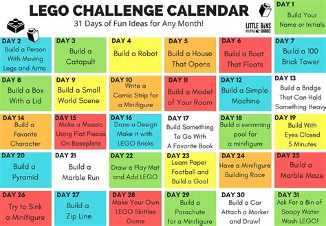 lego challenge calendar free printable lego stem for