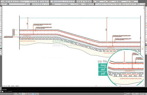 Swimming Pool Section Detail by Swimming Pool Water Level Depth Change Detail