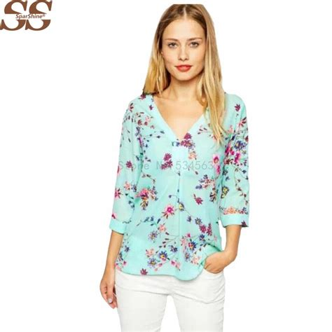 Blouse Siffon 01 top design chiffon blouses 3 4 sleeve v neck blouse floral printed blouse casual