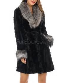 sculptured fur coat mink fur with silver fox fur collar