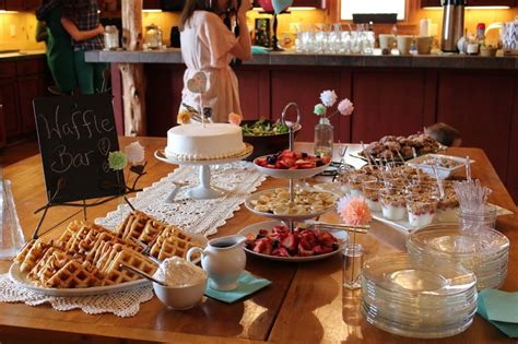 bridal shower luncheon recipe ideas menus for baby shower brunch ideas wall wooden table white cloth cake fruit yoghurt waffle