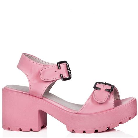 buy broome block heel cleated sole sandal shoes pink