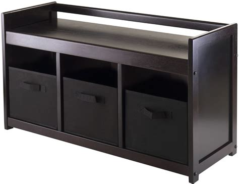addison storage bench addison black storage bench with 3 foldable baskets from winsomewood coleman furniture