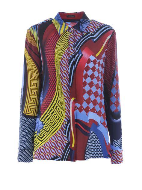 Versace Ori fret print silk shirt by versace shirts ikrix