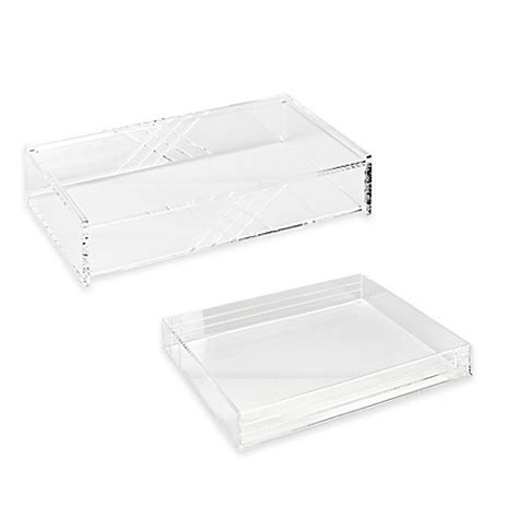 Clear Desk Organizer Acrylic Line Etched Desk Organizer Collection In Clear Bedbathandbeyond