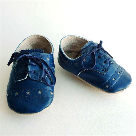 Leather Baby Boy Shoes Blue Brogued Dress Crib Shoes Baby Boy Crib Shoes