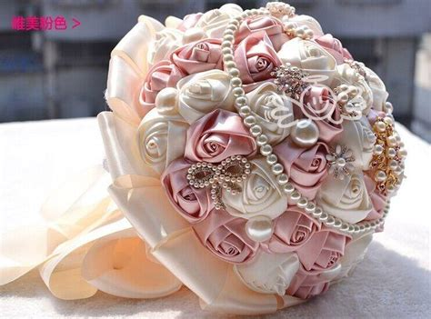 Handmade Wedding Bouquet - handmade ivory satin silk brooch flower