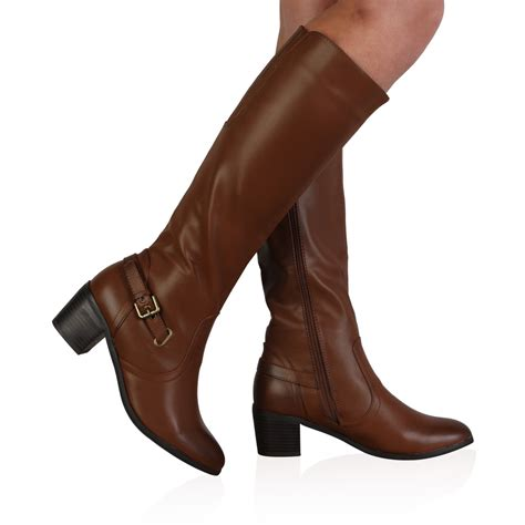99r womens brown faux leather knee high mid