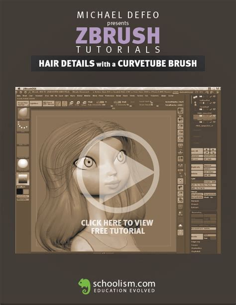 Zbrush Watch Tutorial | free zbrush tutorial by michael defeo hair details with a