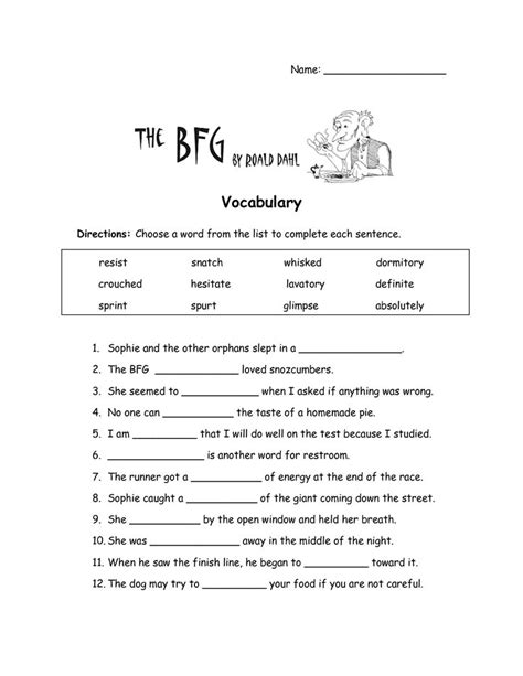 Vocabulary Worksheets by The Bfg Worksheets The Bfg Vocabulary Worksheet