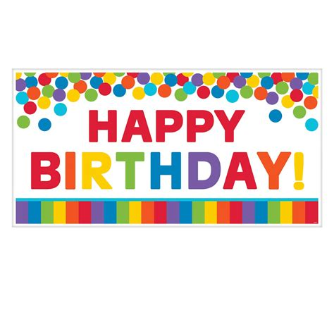 Banner Happy Birthday primary rainbow happy birthday banners 1 65m x 85cm 12 pc amscan international
