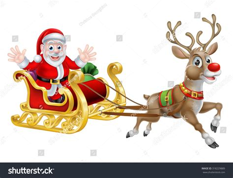 animated photos of christmas santa claus with reindeer of santa and his reindeer with his sled stock vector illustration 318229889