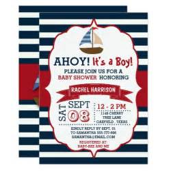 nautical baby shower invitations templates ahoy it s a boy nautical boat baby shower invites zazzle