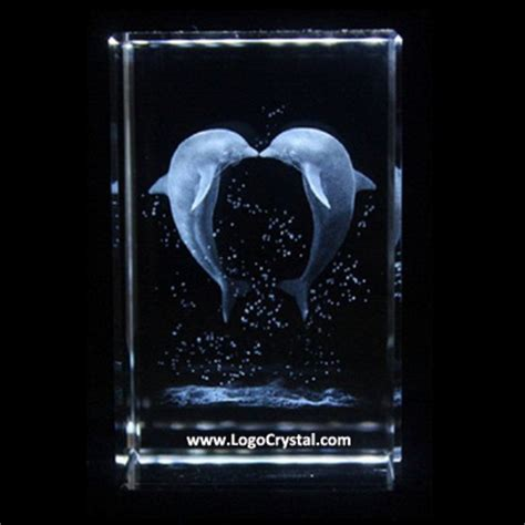 Dolphin 3d Laser Crystal Glass Block