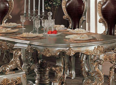 dining room  buffet table elegant  ornate wood dining set  acanthus leaf details