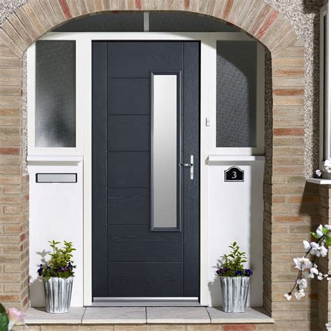 Grp Grey Newbury Glazed Composite Door Composite Doors Gray Front Door