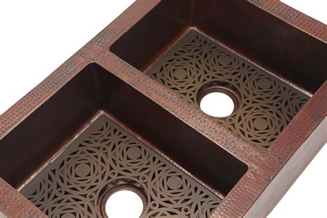 mosaic grate for copper kitchen sink copper sinks