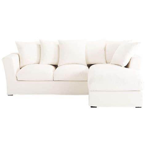 White Corner Sofa Bed 5 Seater Linen Corner Sofa Bed In White Bruxelles Maisons Du Monde